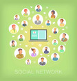 social network concept notebook cartoon style vector image