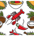 thailand food fruits vegetables and seafood vector image vector image