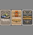 travel rafting trekking and kayaking sports vector image vector image