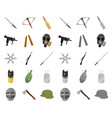 types of weapons cartoonmono icons in set vector image vector image