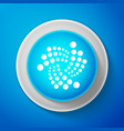 white cryptocurrency coin iota miota icon isolated vector image vector image