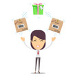 woman with cardboard box and gift box vector image vector image