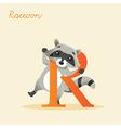 Animal alphabet with raccoon vector image