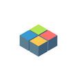 4 cubes or blocks isometric logo design stock