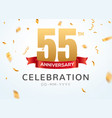 55 anniversary gold numbers with golden confetti vector image vector image