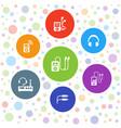 7 headphones icons vector image vector image