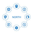 8 north icons vector image vector image