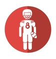american football player with helmet and ball vector image vector image