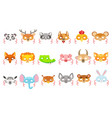 animal paper masks set of icons vector image