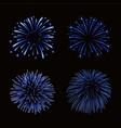 beautiful blue fireworks set bright fireworks vector image vector image