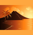beautiful calm beach with mountain during sunset vector image