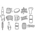 beer thin line icons set - hop branch wooden barr vector image