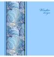 Blue vertical border winter frozen glass vector image vector image