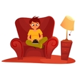 boy sitting on the armchair and playing tablet vector image vector image