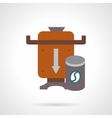 Brown coffee beans mill flat color icon vector image