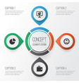 business icons set collection of leader pie bar vector image