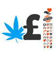cannabis pound business icon with lovely bonus vector image vector image
