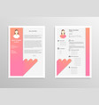 cartoon feminine resume with infographics vector image vector image
