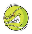 cartoon tennis ball angry face vector image