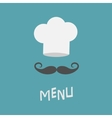 Chef hat and big mustache Menu card Restaurant vector image vector image
