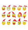 christmas smiley face icons set vector image