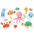 colorful set of various sea creatures cartoon vector image