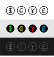 currency icons set main world countries money vector image
