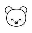 cute bear head cartoon icon thick line vector image vector image