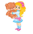 cute girl holding a big toy bear in her hands vector image vector image