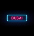 dubai neon sign bright light signboard banner vector image