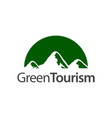 green tourism half circle mountain icon logo vector image vector image