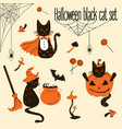 halloween black cats trick or treat objects vector image vector image