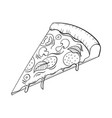hand drawn pizza doodle art food icon vector image