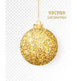 hanging christmas golden ball isolated on white vector image vector image
