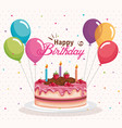 happy birthday cake with balloons air celebration vector image vector image