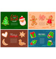 holly jolly gingerbread man santa claus cookie vector image vector image