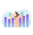 isometric businessman jumping across gap between vector image vector image