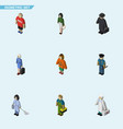 isometric human set of plumber lady hostess and vector image vector image