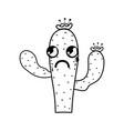 line kawaii nice and crying cactus plant vector image