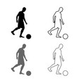 man kicks the ball silhouette soccer player vector image vector image