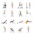 People Training At Gym Icons Set vector image vector image
