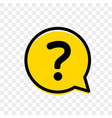 question mark in yellow bubble faq question mark vector image vector image