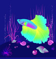 realistic fish on the dark blue beckgound vector image