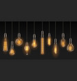 realistic light bulbs vintage lamps hanging on vector image