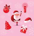 Santa claus christmas with set icons