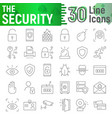 security thin line icon set protection symbols vector image vector image