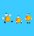 set funny bitcoin characters with various vector image vector image