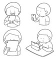 set of smartphone addiction vector image