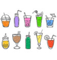 sketch summer drinks glass soft drink cold vector image