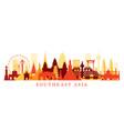 southeast asia landmarks skyline shape vector image vector image